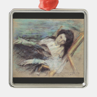 Charlotte Berend on a stool by Lovis Corinth Square Metal Christmas Ornament