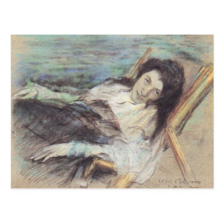 Charlotte Berend on a stool by Lovis Corinth Postcard