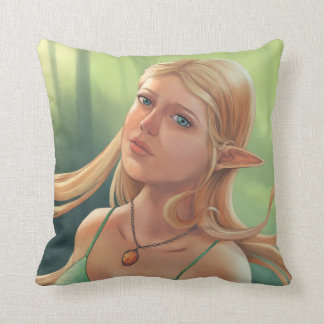 Charlotte - Blonde Fantasy Elf Girl Portrait Throw Pillow