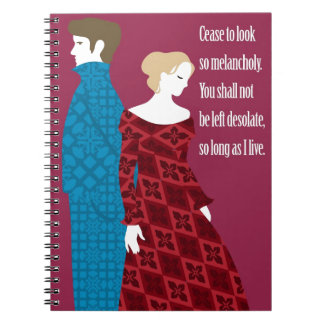 """Charlotte Bronte """"Jane Eyre"""" gift with quote Spiral Note Book"""