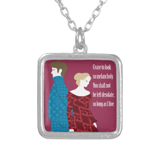 """Charlotte Bronte """"Jane Eyre"""" gift with quote Silver Plated Necklace"""