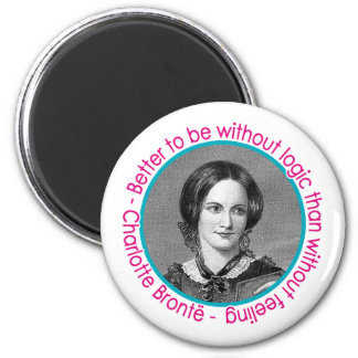 Charlotte Bronte Portrait With Quote 2 Inch Round Magnet