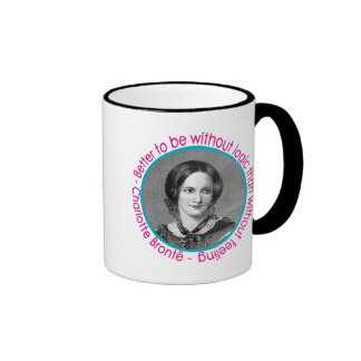 Charlotte Bronte Portrait With Quote Ringer Coffee Mug
