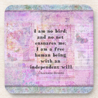 Charlotte Bronte quote about independence Drink Coasters