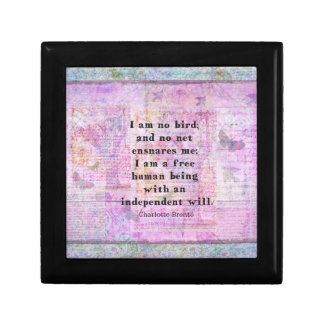 Charlotte Bronte quote about independence Trinket Boxes