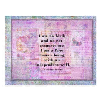 Charlotte Bronte quote about independence Postcard