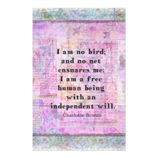 Charlotte Bronte quote about independence Stationery Paper