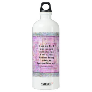 Charlotte Bronte quote about independence Water Bottle