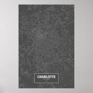Charlotte, Carolina del Norte (blanca en negro) Poster