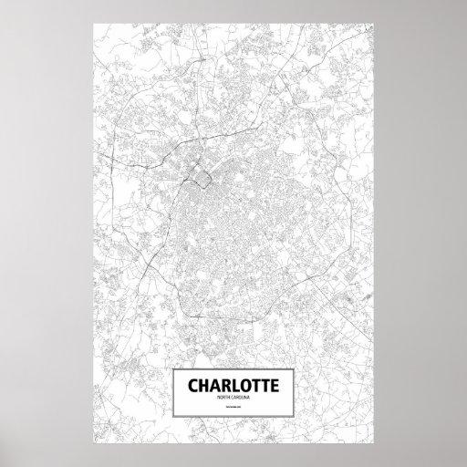 Charlotte, Carolina del Norte (negro en blanco) Impresiones