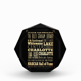Charlotte City of North Carolina State Typography Acrylic Award