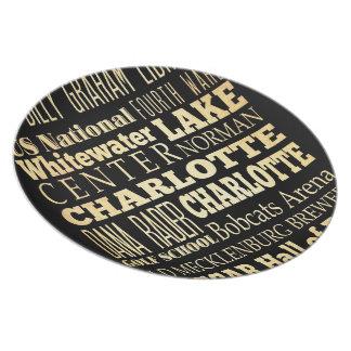 Charlotte City of North Carolina State Typography Melamine Plate