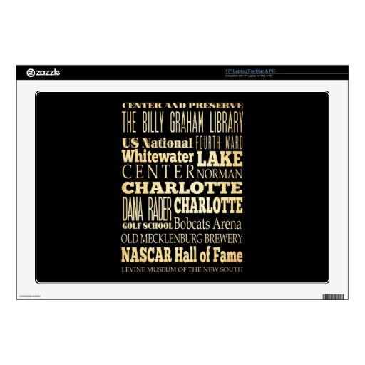 "Charlotte City of North Carolina State Typography 17"" Laptop Skin"