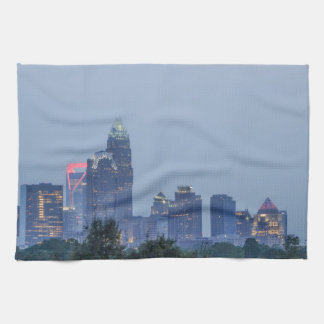 Charlotte city skyline hand towel