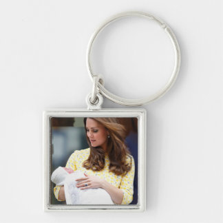 Charlotte Elizabeth Diana - British Will Kate Silver-Colored Square Keychain
