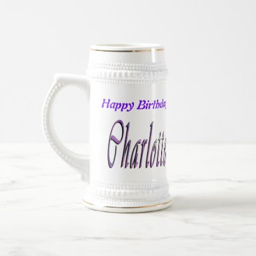 Beach Themed Charlotte Happy Birthday Logo, Beer Stein