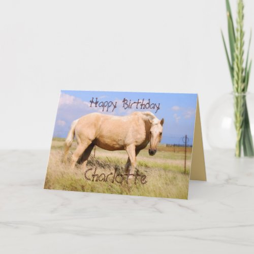 Charlotte Happy Birthday Palomino Horse Card card