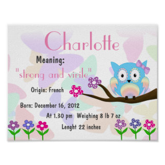 Charlotte Name meaning keepsake nursery Poster
