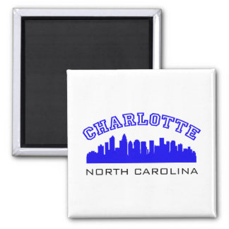 Charlotte NC Outline 2 Inch Square Magnet