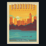 """Charlotte, NC Postcard<br><div class=""""desc"""">Anderson Design Group is an award-winning illustration and design firm in Nashville,  Tennessee. Founder Joel Anderson directs a team of talented artists to create original poster art that looks like classic vintage advertising prints from the 1920s to the 1960s.</div>"""