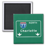 Charlotte, NC Road Sign 2 Inch Square Magnet