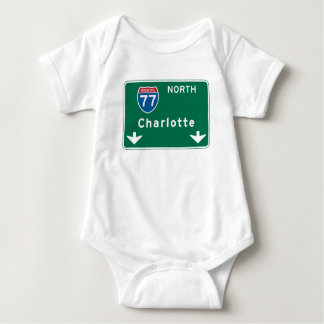 Charlotte, NC Road Sign Baby Bodysuit