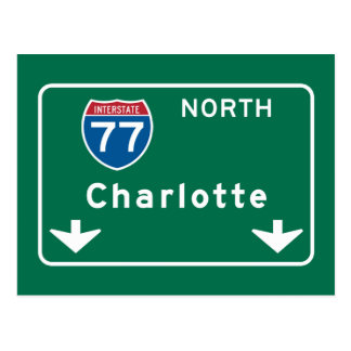 Charlotte, NC Road Sign Postcard