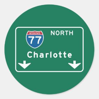 Charlotte, NC Road Sign Classic Round Sticker