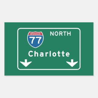 Charlotte, NC Road Sign Rectangular Sticker