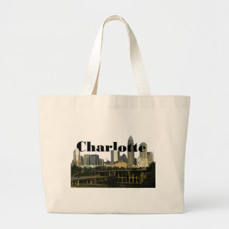 Charlotte NC Skyline with Charlotte in the Sky Canvas Bags