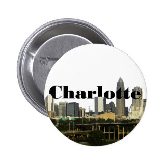 Charlotte NC Skyline with Charlotte in the Sky Buttons