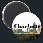"""Charlotte NC Skyline with Charlotte in the Sky Magnet<br><div class=""""desc"""">Charlotte NC Skyline with Charlotte in the Sky. Photo Credit: jacreative - http://www.flickr.com/photos/jacreative/</div>"""