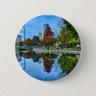 charlotte north carolina autumn season city skylin pinback button