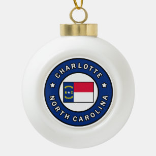 Charlotte North Carolina Ceramic Ball Christmas Ornament