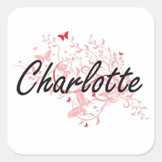 Charlotte North Carolina City Artistic design with Square Sticker