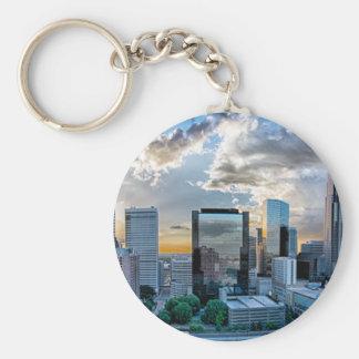 charlotte north carolina city downtown skyline upt basic round button keychain