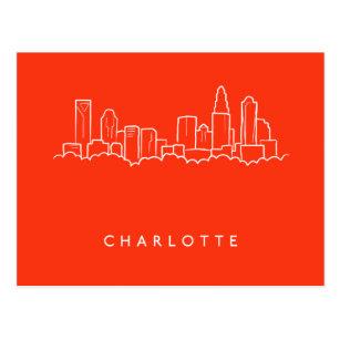 Charlotte Skyline Travel Postcards Charlotte NC City Map Art Travel Gifts North Carolina Travel Map Postcard Set City Art Watercolor