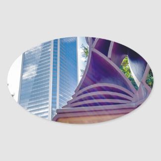 charlotte north carolina downtown city skyline oval sticker