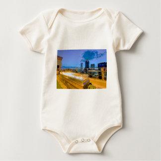 charlotte north carolina evening skyline aerial fa baby bodysuit