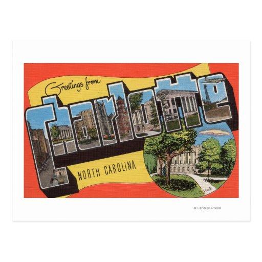 Charlotte, North Carolina - Large Letter Scenes Post Card