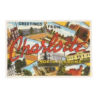 Charlotte North Carolina NC Old Vintage Postcard- Placemat