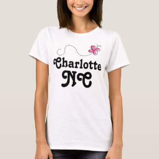 Charlotte North Carolina Pink Butterfly T-Shirt