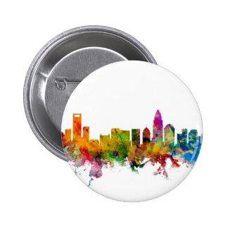 Charlotte North Carolina Skyline Button