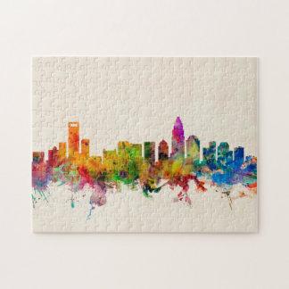 Charlotte North Carolina Skyline Cityscape Jigsaw Puzzle