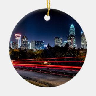 charlotte north carolina skyline evening ceramic ornament