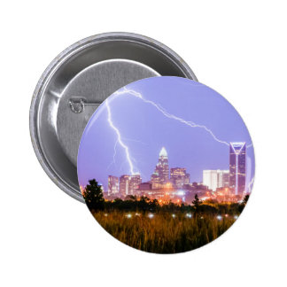 charlotte north carolina skyline lightning button
