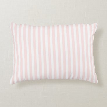 USA Themed Charlotte Pink and White Stripes Baby Pink Decorative Pillow