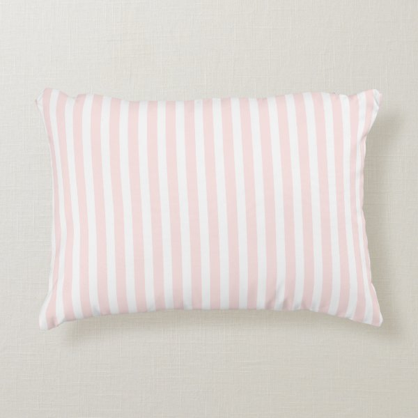 Charlotte Pink and White Stripes Baby Pink Decorative Pillow