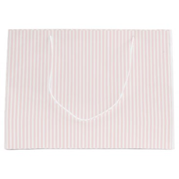 Valentines Themed Charlotte Pink and White Stripes Baby Pink Large Gift Bag