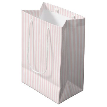 Valentines Themed Charlotte Pink and White Stripes Baby Pink Medium Gift Bag